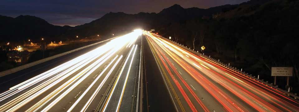 I-10 Freeway at Night in the Inland Empire of Califormia